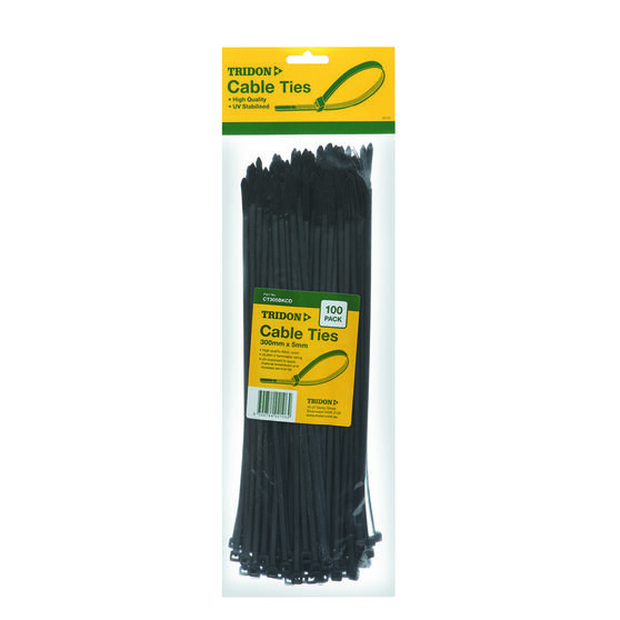 Tridon Cable Ties - 300mm x 5mm, 100 Pack, Black, , scaau_hi-res