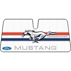Ford Mustang Horsepower Sunshade - White, Accordion, Front, , scaau_hi-res