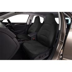 Cloud Premium Suede Seat Covers - Black, Built-in Headrests, Size 60, Front Pair, Airbag Compatible, , scaau_hi-res