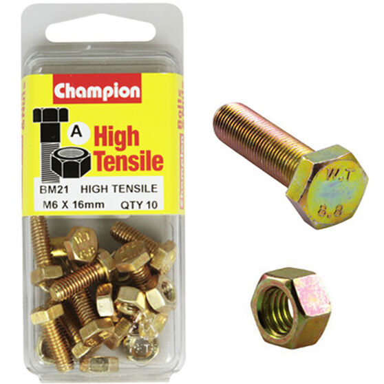 Champion High Tensile Bolts and Nuts - M6 X 16, , scaau_hi-res