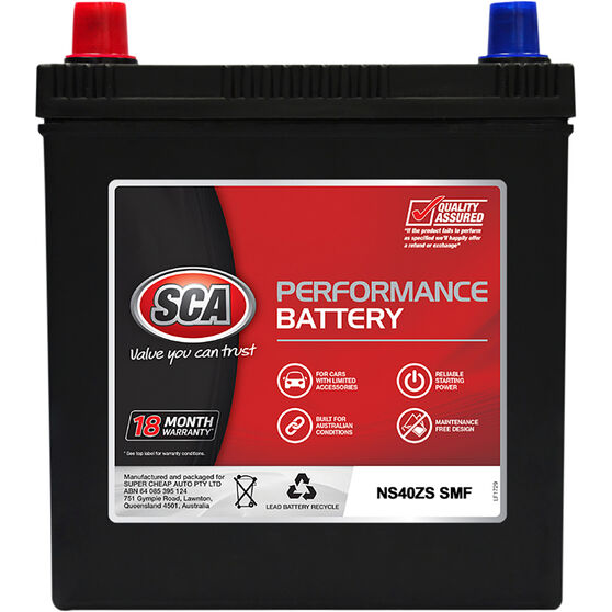 SCA Performance Car Battery SNS40ZS MF, , scaau_hi-res