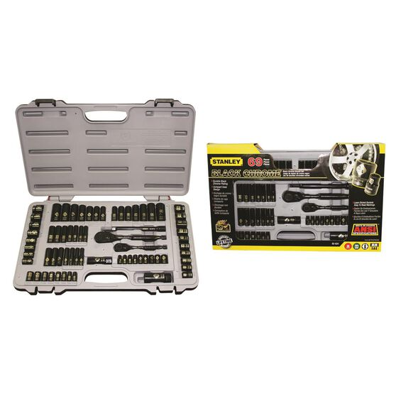 Stanley Socket Set - 1 / 4 inch and 3 / 8 inch Drive, Metric / Imperial, 69 Piece, , scaau_hi-res