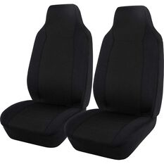 SCA Jacquard Seat Covers - Black, Built-in Headrests, Airbag Compatible, , scaau_hi-res