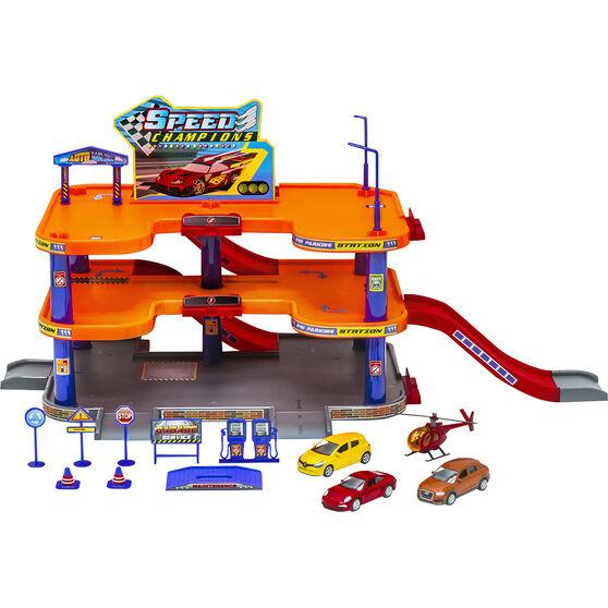 Garage Playset with 4 vehicles, , scaau_hi-res