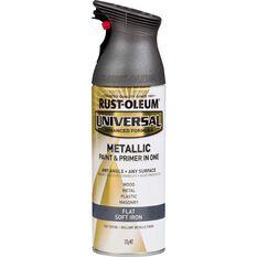 Rust-Oleum Aerosol Paint Universal -  Flat Metallic Soft Iron, 312g, , scaau_hi-res