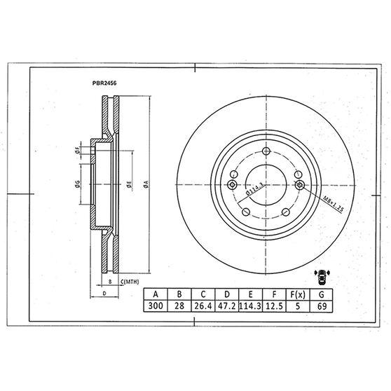 Bosch Disc Brake Rotor PBR2456, , scaau_hi-res