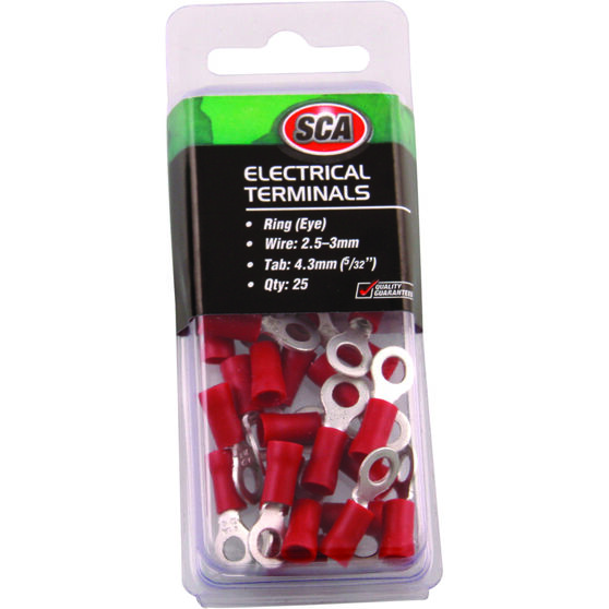 SCA Electrical Terminals - Ring (Eye), Red, 4.3mm, 25 Pack, , scaau_hi-res