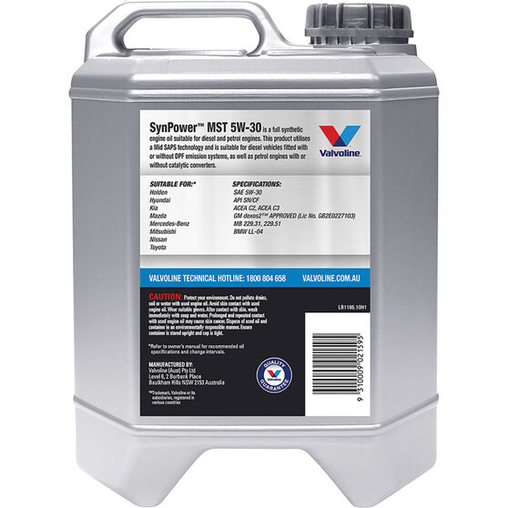 Valvoline Synpower MST Engine Oil 5W-30 10 Litre, , scaau_hi-res