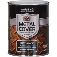 SCA Metal Cover Rust Paint - Enamel, Matt Black, 1 Litre, , scaau_hi-res