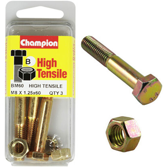 Champion High Tensile Bolts and Nuts - M8 X 60, , scaau_hi-res