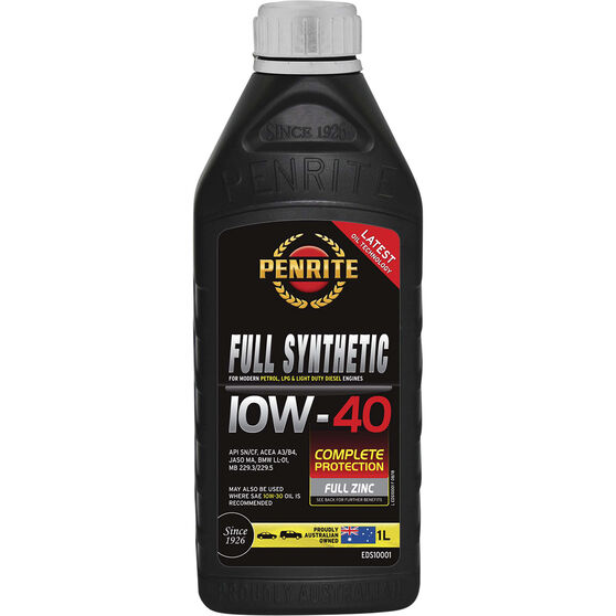 Penrite Full Synthetic Engine Oil - 10W-40 1 Litre, , scaau_hi-res