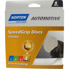 Norton Speed Grip Disc 320 Grit 150mm 5 Pack, , scaau_hi-res