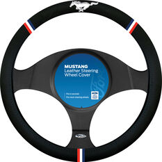 Ford Mustang Steering Wheel Cover - Leather, Black, , scaau_hi-res