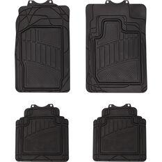 Car Floor Mats - Rubber, Black, Set of 4, Semi Tailored 4WD, , scaau_hi-res
