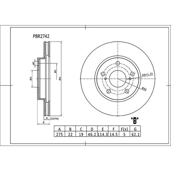 Bosch Disc Brake Rotor - PBR2742, , scaau_hi-res