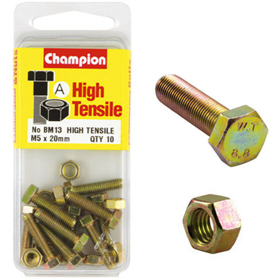 Champion High Tensile Bolts and Nuts - M5 X 20, , scaau_hi-res
