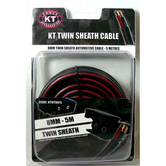 KT Cable Trailer Wire - Twin Sheath, 8mm, 5m, , scaau_hi-res