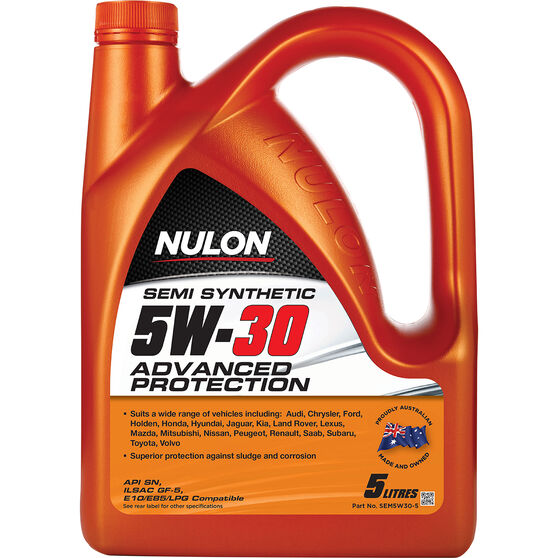 Nulon Semi Synthetic Advanced Protection Engine Oil - 5W-30 5 Litre, , scaau_hi-res