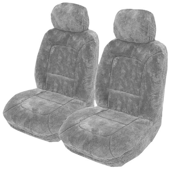 Platinum Cloud Sheepskin Seat Covers - Grey Adjustable Headrests Size 30 Front Pair Airbag Compatible Grey, Grey, scaau_hi-res