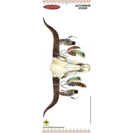 Sticker Cow skull with feathers Medium SH889M, , scaau_hi-res