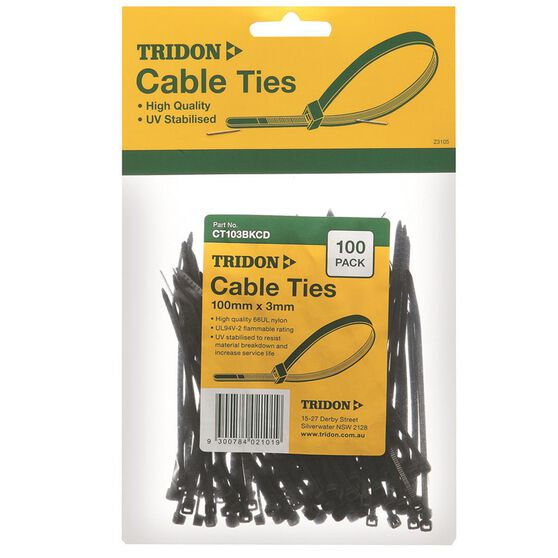 Tridon Cable Ties - 100mm x 3mm, 100 Pack, Black, , scaau_hi-res
