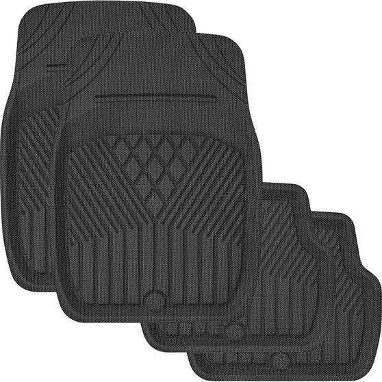 SCA Deep Dish Car Floor Mats - Rubber, Black, Set of 4, , scaau_hi-res