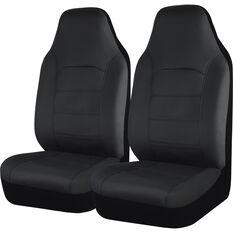 SCA Leather Look Seat Covers - Black Built-In Headrests Size 60 Front Pair Airbag Compatible, , scaau_hi-res