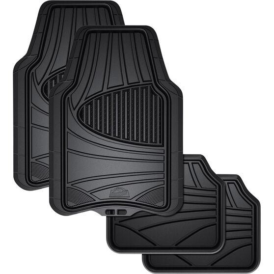 Armor All Car Floor Mats - Natural Rubber, Black, Set of 4, , scaau_hi-res