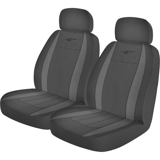 WR Fusion Seat Covers - Black/Grey, Adjustable Headrests, Size 30, Airbag Compatible, , scaau_hi-res