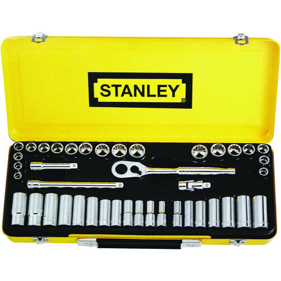 "Stanley Socket Set - 3/8"" Drive, Metric & Imperial, 42 Piece, , scaau_hi-res"