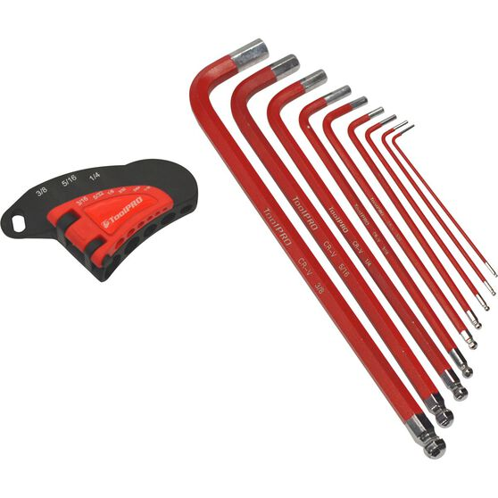 ToolPRO Long Hex Key Set - SAE, 9 Pieces, , scaau_hi-res