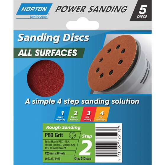 Norton Disc Sander - 80 Grit, 125mm, , scaau_hi-res