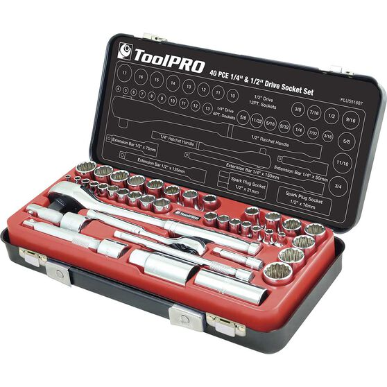 """ToolPRO Socket Set - 1/4"""" and 1/2"""" Drive, Metric & Imperial, 40 Piece, , scaau_hi-res"""