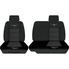 Woven Ute Seat Cover - Black, Size 401, Front Bucket & Bench (with cut out), , scaau_hi-res