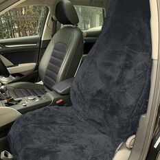 SCA Sheepskin Seat Cover - Charcoal, Built-in Headrests, Size 60, Single, Airbag Compatible, , scaau_hi-res