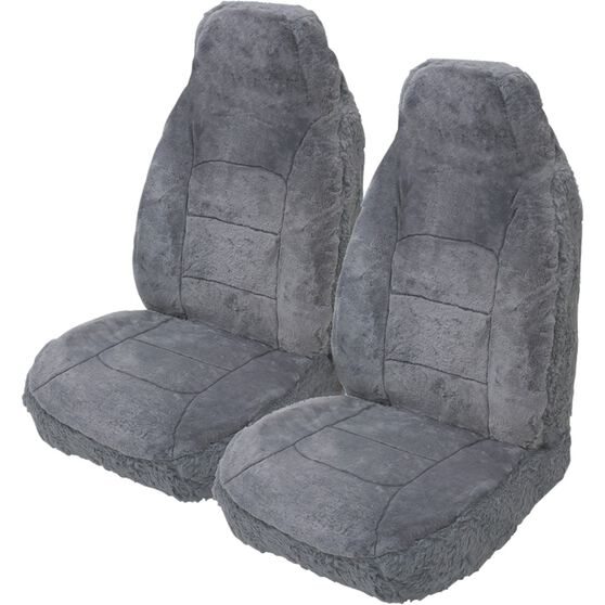 Silver Cloud Sheepskin Seat Covers - Grey, Built-in Headrests, Size 60, Front Pair, Airbag Compatible Grey, Grey, scaau_hi-res