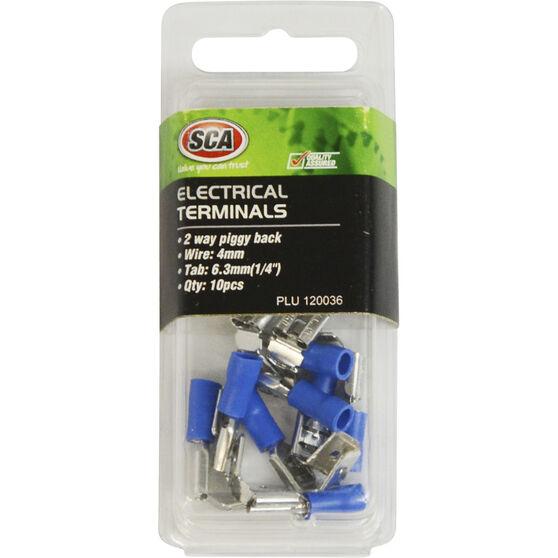 SCA Electrical Terminals - 2 Way Piggy Back, Blue, 6.3mm, 10 Pack, , scaau_hi-res