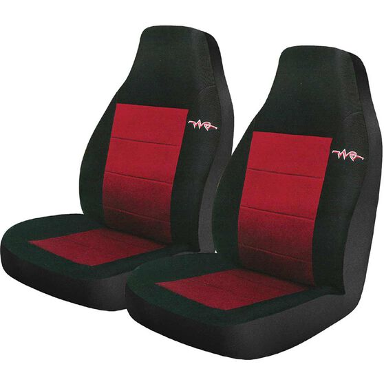Cord Seat Covers - Red, Built-in Headrests, Size 60, Front Pair, Airbag Compatible, , scaau_hi-res