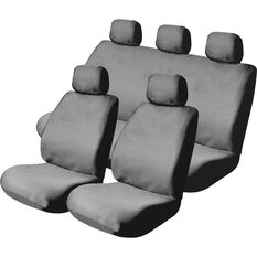 Mesh Seat Cover Pack -  Grey, Adjustable Headrests, Size 30 & 06H, Front Pair & Rear, Airbag Compatible, , scaau_hi-res