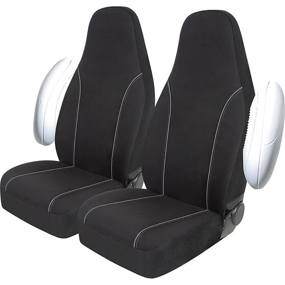 SCA Canvas Seat Covers - Black/Grey, Built-In Headrests, Size 60, Front Pair, Airbag Compatible, , scaau_hi-res