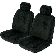 SCA Comfort Fur Seat Covers - Black, Adjustable Headrests, Size 30, Front Pair, Airbag Compatible, , scaau_hi-res