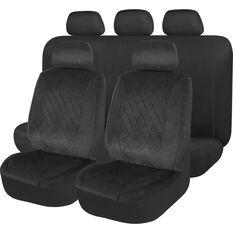 SCA Velour Quilted Seat Cover Pack - Black Adjustable Headrests Size 30 and 06H Airbag Compatible, , scaau_hi-res