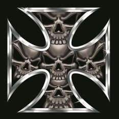 Hot Stuff Sticker - Iron Cross Skull, Chrome, , scaau_hi-res