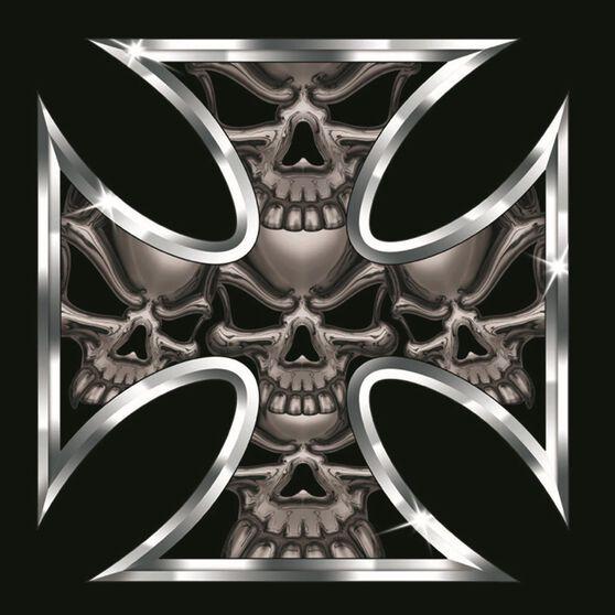 Hot Stuff Sticker - Iron Cross Skull, Chrome, , scaau_hi-res