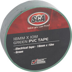 SCA PVC Electrical Tape - Green, 18mm x 10m, , scaau_hi-res