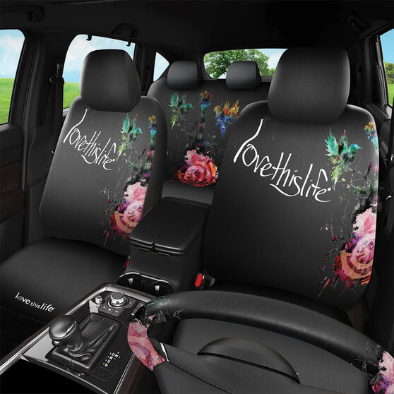 Love This Life Flora 6 Piece Seat Cover Pack - Black Adjustable Headrests Size 30 & 06H Front & Rear Pack Steering Wheel Cover Seat Belt Buddies Front, , scaau_hi-res