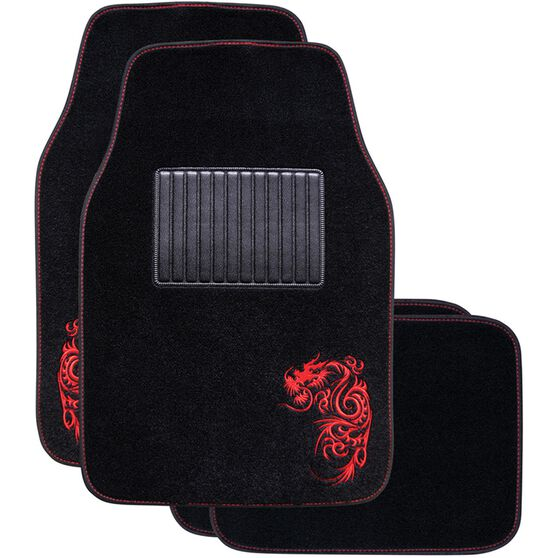 Dragon Car Floor Mats - Carpet, Red, Set of 4, , scaau_hi-res