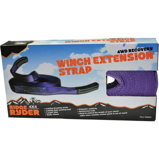 Ridge Ryder Winch Extension Strap - 20m, 4500kg, , scaau_hi-res