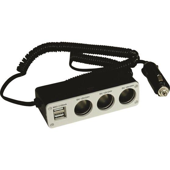SCA 12V Socket - Triple, with USB, 8A, , scaau_hi-res