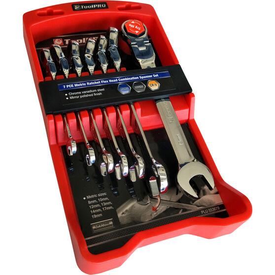 ToolPRO Spanner Set - Ratchet, Flex Head, 7 Piece, Metric, , scaau_hi-res
